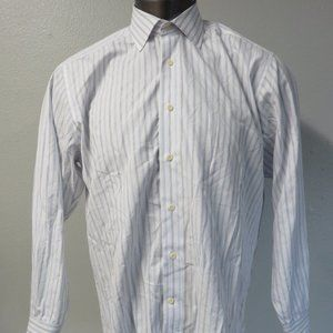 David Donahue Dress Shirt White Blue 16.5 34/35